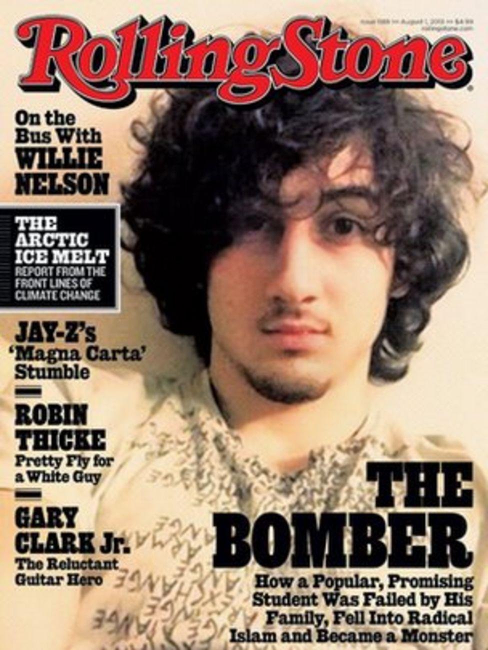 Rolling Stone magazine cover from August 2013, featuring Boston Marathon Bomber Dzhokhar Tsarnaev.