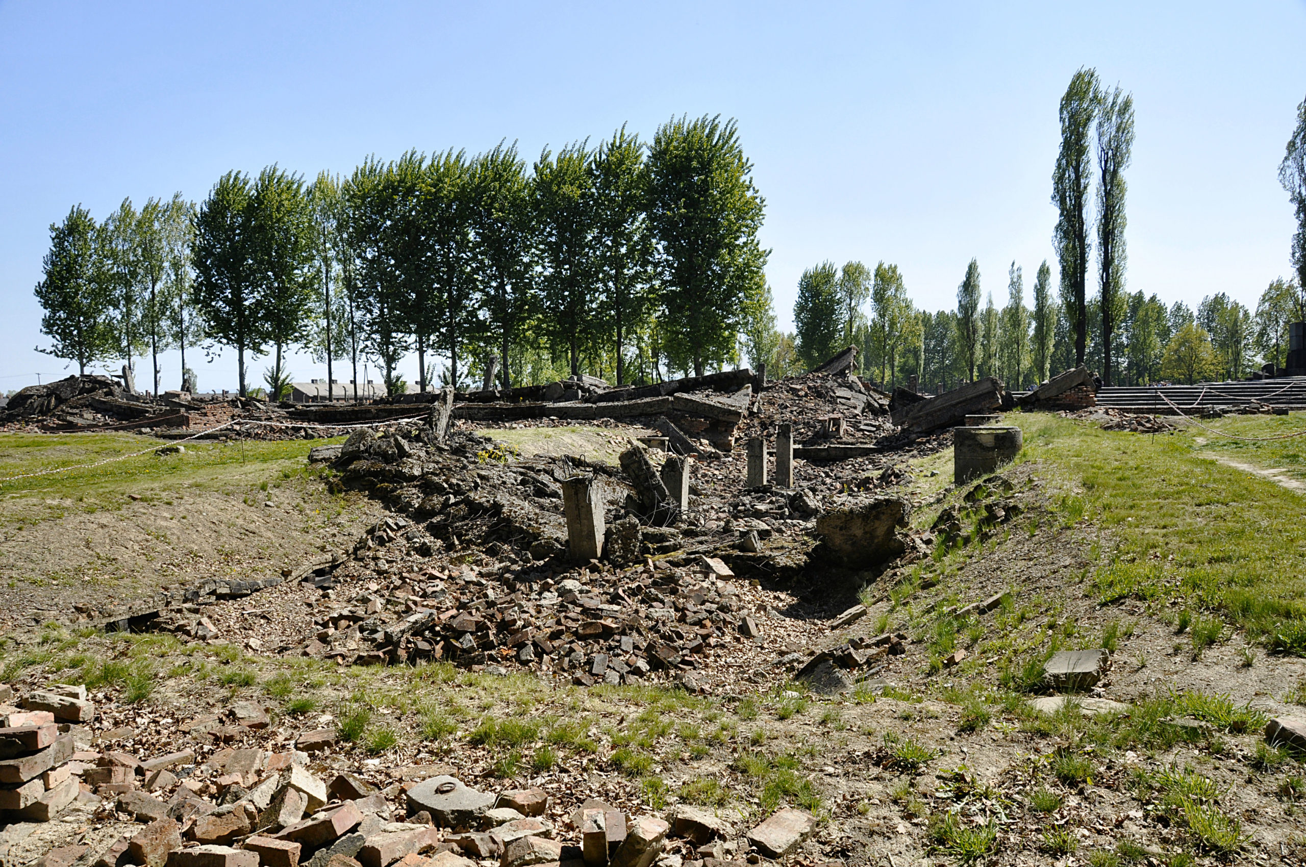 Ruins of the gas chamber in Crematorium III of Auschwitz-Birkenau. Photo courtesy of Michael Leibson.