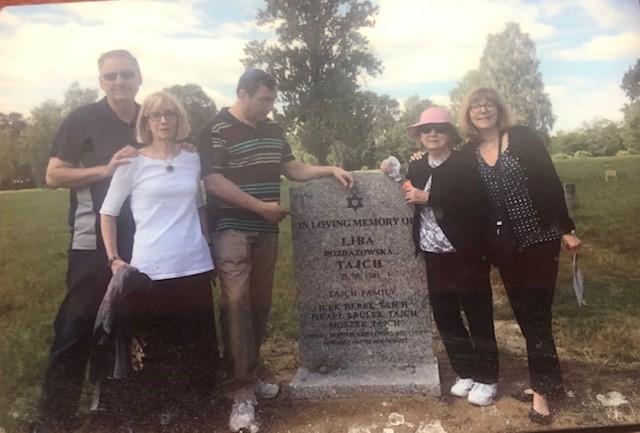 Mark and Anne Klisman, Jeff Ellis, Sophie Tajch Klisman and Lori Klisman Ellis at the Lodz cemetery, in 2016 honoring the memory of the Tajch family.